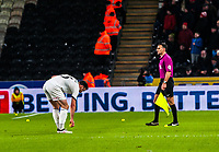 Sheffield United's defender Enda Stevens (3) clears the balls thrown on the pitch during the Sky Bet Championship match between Hull City and Sheff United at the KC Stadium, Kingston upon Hull, England on 23 February 2018. Photo by Stephen Buckley / PRiME Media Images.
