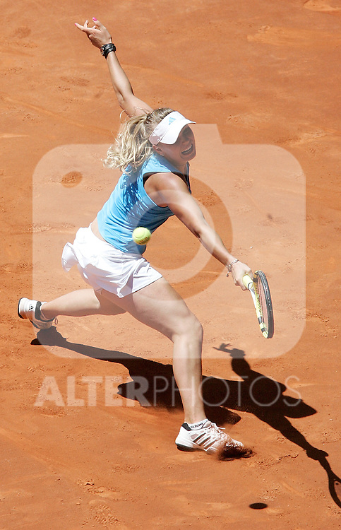 Denmark's Caroline Woziniacki during her Madrid Open final match. May 16, 2009. (ALTERPHOTOS/Alvaro Hernandez)