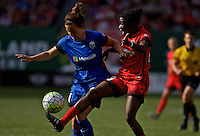 Portland, OR - Sunday, May 29, 2016: Portland Thorns FC forward Shade Pratt (29) and Seattle Reign FC defender Rachel Corsie (4). The Portland Thorns FC and the Seattle Reign FC played to a 0-0 tie during a regular season National Women's Soccer League (NWSL) match at Providence Park.