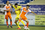 02 May 2015: Tampa Bay's Georgi Hristov (BUL) (left) tries to knock the ball from Carolina's Kupono Low (right). The Carolina RailHawks hosted the Tampa Bay Rowdies at WakeMed Stadium in Cary, North Carolina in a North American Soccer League 2015 Spring Season match. The game ended in a 1-1 tie.