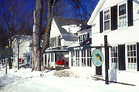 AJ5943, inn, B&B, lodge, hotel, lodging, winter, snow, Vermont, The Dove Tail Inn, Bed and Breakfast on a beautiful sunny day in winter in Dorset/Manchester in Bennington County in the state of Vermont.