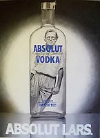 A portrait painting of the designer Lars Bolander as a bottle of vodka