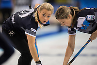 Glasgow. SCOTLAND.  Vicki ADAMS, look's to check the path of the &quot;Stone&quot; during  the &quot;Round Robin&quot; Game.  Scotland vs Russia,  Le Gruy&egrave;re European Curling Championships. 2016 Venue, Braehead  Scotland<br /> Thursday  24/11/2016<br /> <br /> [Mandatory Credit; Peter Spurrier/Intersport-images]