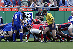 30 April 2005: Philadelphia's Roger Tuamoheloa puts the ball into a scrum. The Kansas City Blues defeated the Philadelphia Whitemarsh RFC 41-14 at the Arrowhead Stadium in Kansas City, Missouri in a Rugby Super League regular season game. .