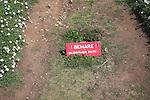 Beware burrows sign, Skomer Island, Pembrokeshire, Wales