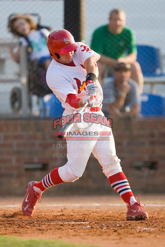 Travis Tartamella #36 of the Johnson City Cardinals makes contact with the baseball during an Appalachian League game against the Elizabethton Twins at Howard Johnson Field July 3, 2010, in Johnson City, Tennessee.  Photo by Brian Westerholt / Four Seam Images