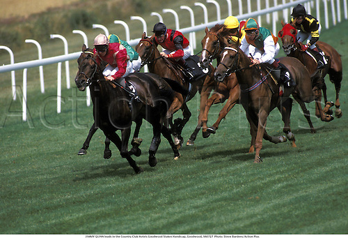 JIMMY QUINN leads in the Country Club Hotels Goodwood Stakes Handicap, Goodwood, 940727  Photo: Steve Bardens/Action Plus...1994 horse racing horses