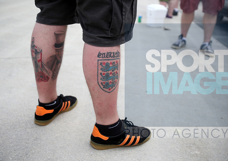 A fan with an England tattoo<br /> <br /> England vs Honduras  - International Friendly - Sun Life Stadium - Miami - USA - 07/06/2014  - Pic David Klein/Sportimage