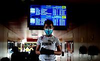 HAVANA, CUBA - March 12:  A kid wears face mask outside of  the International airport José Martí in Havana, Cuba, Thursday, March 12, 2020,  The World Health Organization declared a global pandemic as the coronavirus rapidly spreads across the world.(Photo by Eliana Aponte/VIEWpress)