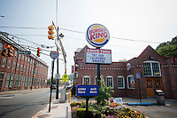 A Burger King restaurant in the Great Falls Historic District in paterson, NJ is seen on Saturday, September 3, 2011. (© Richard B. Levine)