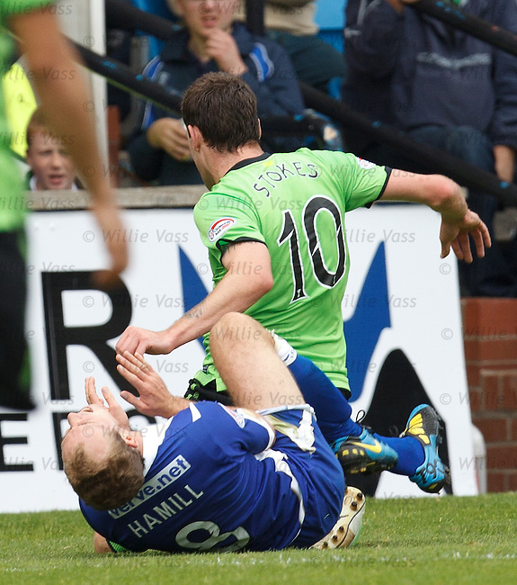 Anthony Stokes lunges into Jamie Hamill