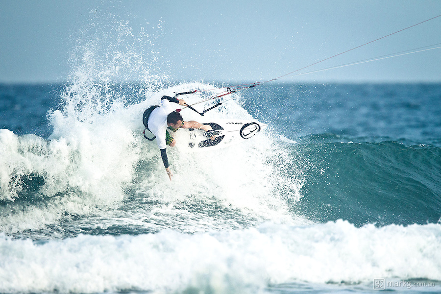 The last leg of the 2010 PKRA World Kiteboarding Tour has come to the Gold Coast, Australia - Mike Walker from Australia in a late afternoon round of the Mens Wave event.