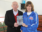 Boxer Deirdre Gogarty pictured with Joe Delaney at her book signing at Drogheda Boxing club. Photo: Colin Bell/pressphotos.ie