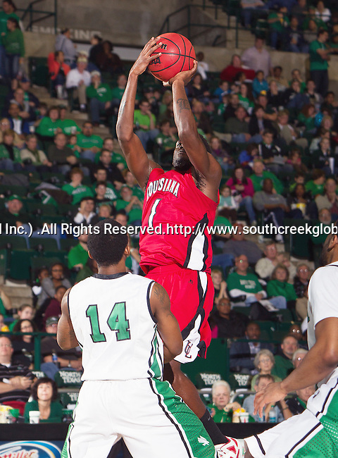 Louisiana Lafayette Ragin Cajuns guard Josh Brown (1) in action during the game between the Louisiana Lafayette Ragin Cajuns and the University of North Texas Mean Green at the North Texas Coliseum,the Super Pit, in Denton, Texas. Louisiana Lafayette defeats UNT 57 to 53.