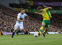 Blackburn Rovers' Adam Armstrong (left) battles with Norwich City's Jamal Lewis (right) <br /> <br /> Photographer David Horton/CameraSport<br /> <br /> The EFL Sky Bet Championship - Norwich City v Blackburn Rovers - Saturday 27th April 2019 - Carrow Road - Norwich<br /> <br /> World Copyright © 2019 CameraSport. All rights reserved. 43 Linden Ave. Countesthorpe. Leicester. England. LE8 5PG - Tel: +44 (0) 116 277 4147 - admin@camerasport.com - www.camerasport.com