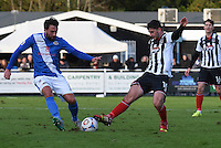 Conor Townsend of Grimsby Town is challenged by Josh Payne of Eastleigh during the Vanarama National League match between Eastleigh and Grimsby Town at The Silverlake Stadium, Eastleigh, Hampshire on Nov 21, 2015. (Photo: Paul Paxford/PRiME)