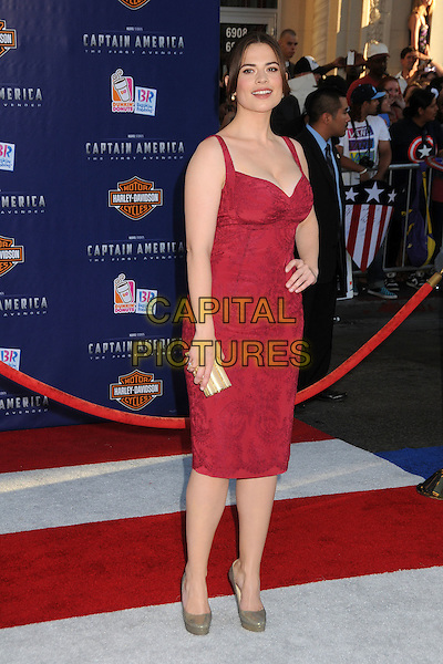 "Hayley Atwell.Premiere of ""Captain America: The First Avenger"" held at The El Capitan Theatre in Hollywood, California, USA..July 19th, 2011.full length pink dress hand on hip grey gray shoes clutch bag .CAP/ADM/BP.©Byron Purvis/AdMedia/Capital Pictures."
