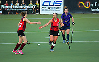 Action from the Wellington Hockey women's open grade premier one match between Hutt United (red and black) and Kapiti at National Hockey Stadium in Wellington, New Zealand on Saturday, 25 May 2019. Photo: Dave Lintott / lintottphoto.co.nz