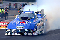 Aug. 18, 2013; Brainerd, MN, USA: NHRA funny car driver Robert Hight during the Lucas Oil Nationals at Brainerd International Raceway. Mandatory Credit: Mark J. Rebilas-