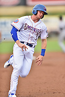 Tennessee Smokies designated hitter Ian Happ (1) runs to third during a game against the Jackson Generals at Smokies Stadium on July 5, 2016 in Kodak, Tennessee. The Generals defeated the Smokies 6-4. (Tony Farlow/Four Seam Images)