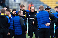 Dave Attwood and James Wilson of Bath Rugby look on in a pre-match huddle. Gallagher Premiership match, between Worcester Warriors and Bath Rugby on January 5, 2019 at Sixways Stadium in Worcester, England. Photo by: Patrick Khachfe / Onside Images