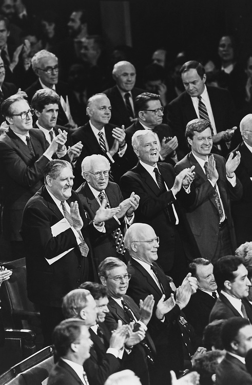 Democratic Senators during one of the many standing ovation at the State of Union on Feb. 17, 1993. (Photo by Maureen Keating/CQ Roll Call via Getty Images)