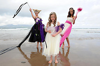 27-06-11: Models Olivia Cheevers and Margaret Kelleher from the Norma O'Donoghue modelling agency with seven  year old Ciara Fitzgibbon  on Brandon Bay beach in Castlegregory, Co. Kerry on Monday  to announce   details of the forthcoming charity fashion extravaganza 'The Little Princess' which will take place in Castlegregory, Co Kerry on Saturday 23 July 2011.  Dresses provided by Gra Mo Chroi Bridal Gallery, Gneeveguilla. Picture: Eamonn Keogh (MacMonagle, Killarney)