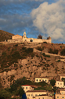 Monastery of Panagias Drymadon, a 14th century basilica with a Byzantine style dome and single nave, above the old village of Dhermi, on the Albanian Riviera on the Ionian Coast, Vlore, Southern Albania. Inside the church are frescoes commissioned by the Archbishop of Himare and Delvina Ioannis in 1781. Picture by Manuel Cohen