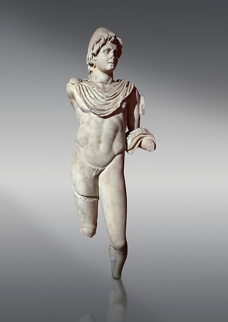 Roman statue of Dioscur. Marble. Perge. 2nd century AD. Antalya Archaeology Museum; Turkey.<br /> <br /> The statue is one of the twin brothers that together are called the Dioscuri which means sons of the God Zeus. Their names are Castor and Pollux.