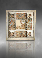 Pictures of a geometric Roman mosaics with strap work and cruciform flowers and in the centre a damaged depiction of a running deer, from the ancient Roman city of Thysdrus, Jilani Guirat area. 3rd century AD. El Djem Archaeological Museum, El Djem, Tunisia. Against a grey background