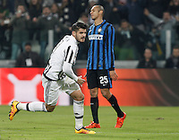 Calcio, semifinali di andata di Coppa Italia: Juventus vs Inter. Torino, Juventus Stadium, 27 gennaio 2016.<br /> Juventus&rsquo; Alvaro Morata, left, celebrates after scoring his second goal as FC Inter's Miranda reacts during the Italian Cup semifinal first leg football match between Juventus and FC Inter at Juventus stadium, 27 January 2016.<br /> UPDATE IMAGES PRESS/Isabella Bonotto