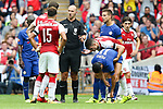 Referee Bobby Madley talks with Olivier Giroud of Arsenal following Pedro of Chelsea's red card during the The FA Community Shield match at Wembley Stadium, London. Picture date 6th August 2017. Picture credit should read: Charlie Forgham-Bailey/Sportimage