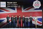 Team Sky on stage at the inaugural UAE Tour 2019 opening ceremony and team presentation held in the Louvre Abu Dhabi, United Arab Emirates. 23rd February 2019.<br /> Picture: LaPresse/Fabio Ferrari | Cyclefile<br /> <br /> <br /> All photos usage must carry mandatory copyright credit (© Cyclefile | LaPresse/Fabio Ferrari)
