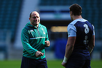 Rory Best of Ireland looks on. Ireland Captain's Run on February 26, 2016 at Twickenham Stadium in London, England. Photo by: Patrick Khachfe / Onside Images