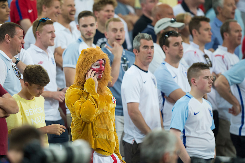 An England fan dressed as a lion during the game<br /> <br /> Photographer Craig Mercer/CameraSport<br /> <br /> International Football - 2016 UEFA European Championship - Group B - England v Russia - Saturday 11th June 2016 - Stade Velodrome, Marseille - France <br /> <br /> World Copyright &copy; 2016 CameraSport. All rights reserved. 43 Linden Ave. Countesthorpe. Leicester. England. LE8 5PG - Tel: +44 (0) 116 277 4147 - admin@camerasport.com - www.camerasport.com