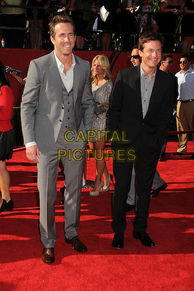 Ryan Reynolds & Jason Bateman.2011 ESPY Awards - Arrivals held at Nokia Theatre L.A. Live, Los Angeles, California, USA..July 13th, 2011.full length shirt suit waistcoat hand in pocket white grey gray black.CAP/ADM/BP.©Byron Purvis/AdMedia/Capital Pictures.