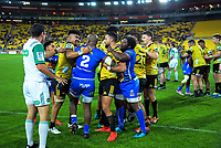 The teams tussle after the final whistle of the Super Rugby match between the Hurricanes and Stormers at Westpac Stadium in Wellington, New Zealand on Saturday, 23 March 2019. Photo: Dave Lintott / lintottphoto.co.nz