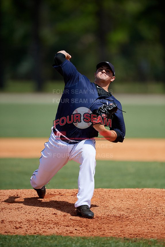 GCL Tigers East relief pitcher Austin Anderson (14) delivers a pitch during a game against the GCL Tigers West on August 8, 2018 at Tigertown in Lakeland, Florida.  GCL Tigers East defeated GCL Tigers West 3-1.  (Mike Janes/Four Seam Images)