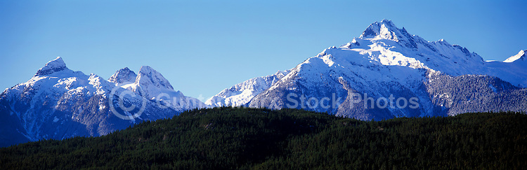 Tantalus Range (Coast Mountains) at Sunrise, along Sea to Sky Highway (Hwy 99) near Whistler and Squamish, BC, British Columbia, Canada - Panoramic View