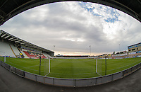 General view of the Globe Arena Stadium during the Sky Bet League 2 match between Morecambe and Wycombe Wanderers at the Globe Arena, Morecambe, England on 18 August 2015. Photo by Andy Rowland.