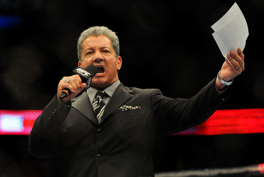 24 SEPTEMBER 2011:  Bruce Buffer announces the title bout between Jones and Jackson   during UFC 135 at the Pepsi Center in Denver, Colorado. *****For Editorial Use Only*****