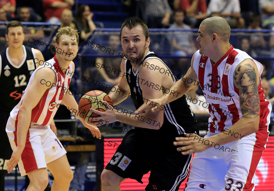 Kosarka Kosarkaska Liga Srbije season 2014-2015<br /> Crvena Zvezda v Partizan<br /> Milan Macvan (C) Maik Zirbes (R) and Jaka Blazic<br /> Belgrade, 05.17.2015.<br /> foto: Srdjan Stevanovic/Starsportphoto &copy;