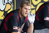 Sacramento River Cats outfielder Nick Buss (11) in the dugout during the Pacific Coast League baseball game against the Round Rock Express on June 19, 2014 at the Dell Diamond in Round Rock, Texas. The Express defeated the River Cats 7-1. (Andrew Woolley/Four Seam Images)