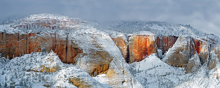 A winter view from Observation Point in Zion National Park Utah, the highest point in the park