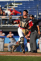 Batavia Muckdogs catcher Blake Anderson (26) during a game against the Mahoning Valley Scrappers on June 23, 2015 at Dwyer Stadium in Batavia, New York.  Mahoning Valley defeated Batavia 11-2.  (Mike Janes/Four Seam Images)