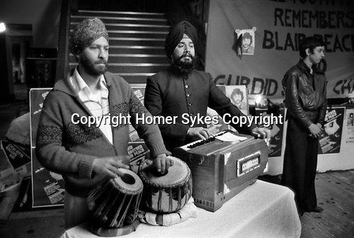 Blair Peach funeral and lying in state. Southall west London 1979. The Dominion Cinema where his lying in state took place was visited by 8,000 Sikhs on the eve of his funeral.