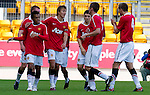 St Johnstone v Man Utd XI....31.07.10  Alan Main Testimonial.Nicky Ajose (left) celebrates his winning goal.Picture by Graeme Hart..Copyright Perthshire Picture Agency.Tel: 01738 623350  Mobile: 07990 594431