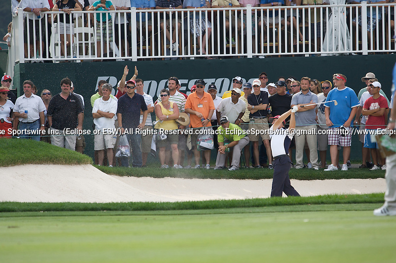 09-08-2009:  Padraig Harrington's second shot from the sand on the 14th hole in the final round of the WGC Bridgestone Invitational in Akron, OH.