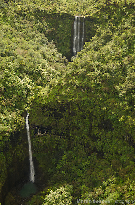 Aerial view of waterfall, Kauai, Hawaii