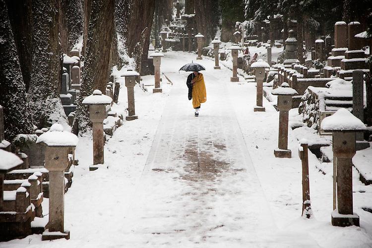 (En) January 2010 - Koyasan, Japan. Monk walking as snow is falling in the Oku-no-in, largest cemetery in Japan. (Fr) Janvier 2010 - Koyasan, Japon. Un moine marche sous la neige dans le cimetiere de l'Oku-no-in, plus grand du Japon. Au bout de l'allee principale se dresse le mausolee de Kukai, alias Kobodaishi.